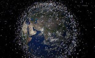 Une simulation informatique montrant les débris en orbite autour de la Terre.