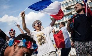Illustration. Supporter français. Pantin, vendredi 6 juillet 2018, fan zone Mondial 2018. Tristan Reynaud/SIPA