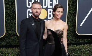 Jessica Biel et Justin Timberlake le 7 janvier 2018 aux Golden Globe Awards à Los Angeles.