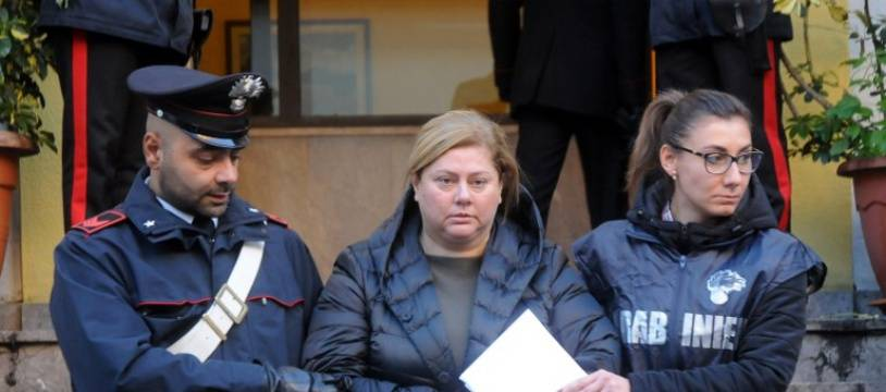 Maria Angela Di Trapani (C), a female mobster suspected of being the mastermind behind a reshuffle of the Sicilian Mafia following the death of
