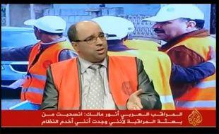 Capture d'écran de la chaîne Al Jazira pour laquelle l'observateur de la Ligue arabe, Anouar Malek, a donné une interview, le 10 janvier 2012.