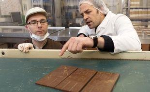 Le président de Grain de Sail Francois Liron (à droite), ici avec le chocolatier Sébastien Renat.