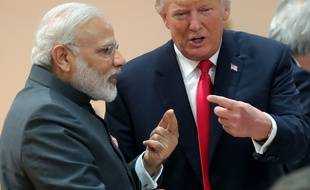 Narendra Modi et Donald Trump au G20 à Hambourg en 2017.