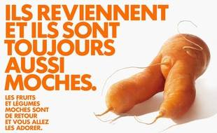 Affiche d'Intermarché pour ses fruits et légumes moches.