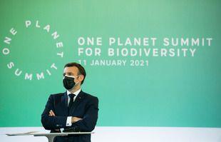 Le président Emmanuel Macron, lors de la quatrième édition du «One Planet Summit» consacré aux enjeux de la protection de la biodiversité, le 11 janvier 2021.