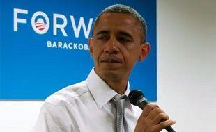 Capture d'écran d'une vidéo montrant le président Barack Obama verser une larme lors d'un discours de remerciement à son équipe de campagne, le 7 novembre 2012, à Chicago (Etats-Unis).