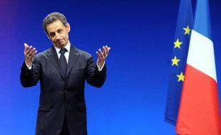 Nicolas Sarkozy le 28 février 2012 à Montpellier, à l'issue d'un meeting lors de sa campagne électorale