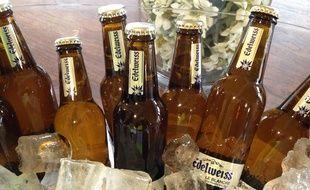 Edelweiss, nouvelle bière produite par Heineken à la brasserie de l'Espérance à Schiltigheim, le 30 mars 2015.