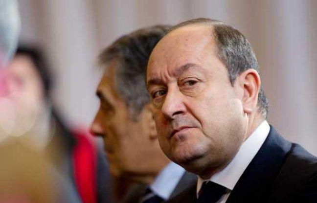 Bernard Squarcini, le 17 janvier 2012, à Paris lors de la conférénce de presse pour la remise du rapport sur les chiffres de la criminalité pour l'année 2011.