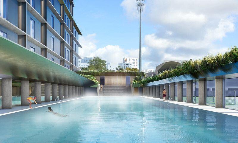 Vue de la future piscine nordique quartier Saupin à Nantes