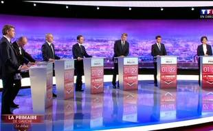 Les candidats de la primaire de la gauche lors du premier débat, jeudi 12 janvier.