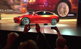 La Model 3 de Tesla, présentée le 31 mars 2016 aux Etats-Unis.