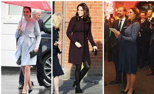 Kate Middleton en Séraphine :le 24 janvier 2018 à Londres,  le 12 décembre 2017 à Londres et le 1er février à Oslo.