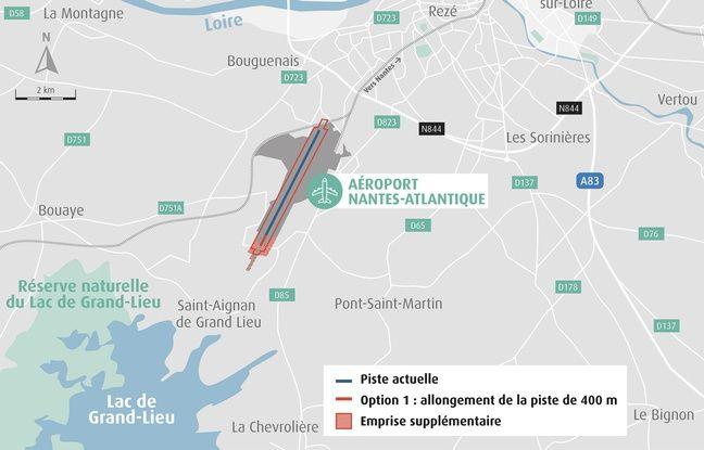 Carte détaillant l'option choisie par l'Etat pour l'aéroport de Nantes : l'allongement de la piste de 400 mètres vers le sud.