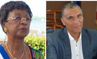 La nouvelle maire de Pointe-à-Pitre, Josiane Gatibelza, et l'ancien maire Jacques Bangou.