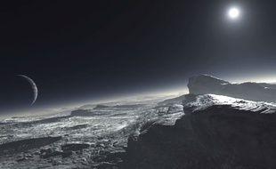 Vue d'artiste de la lune Charon vue depuis Pluton.
