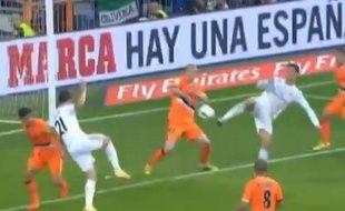 CristianoRonaldo égalise contre Levante d'une talonnade, le 4 mai 2014, à Madrid.