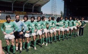 Photo de l'équipe de Saint-Etienne avant sa finale contre Munich, en 1976