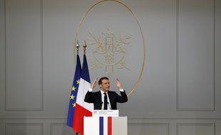 Le président français, Emmanuel Macron, lors de la conférence nationale sur le handicap, le 11 février 2020.