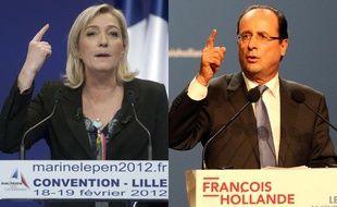 Montage de Marine Le Pen (Front national) et François Hollande (Parti socialiste)