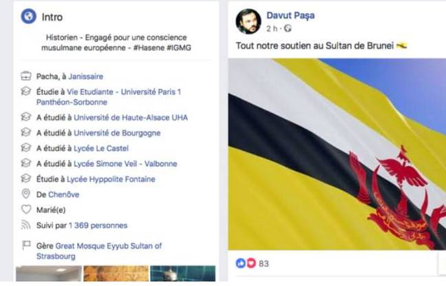 Le message posté par David Bizet, alias Davut Paçat sur son compte Facebook le 3 avril dernier