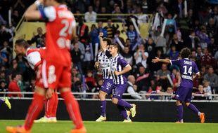 Wissam Ben Yedder a inscrit les trois buts du TFC contre Valenciennes (3-1), le 17 mai 2014 lors de la dernière journée de L1, au Stadium de Toulouse.