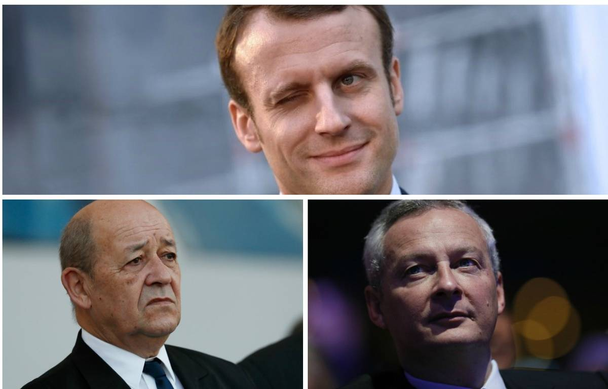 Photomontage Macron, Le Drian et Le Maire – DR