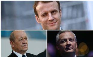Photomontage Macron, Le Drian et Le Maire