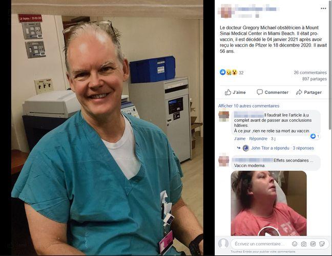Exemple d'une publication Facebook laissant entendre que G. Michael, obstétricien américain, serait décédé à cause du vaccin contre le Covid-19