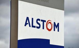Le logo d'Alstom, le 2 mai 2014 à Montpellier