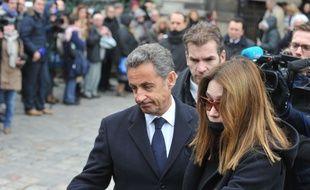 Nicolas Sarkozy et Carla Bruni aux obsèques e Jacques Chancel le 6 janvier 2015 à Paris