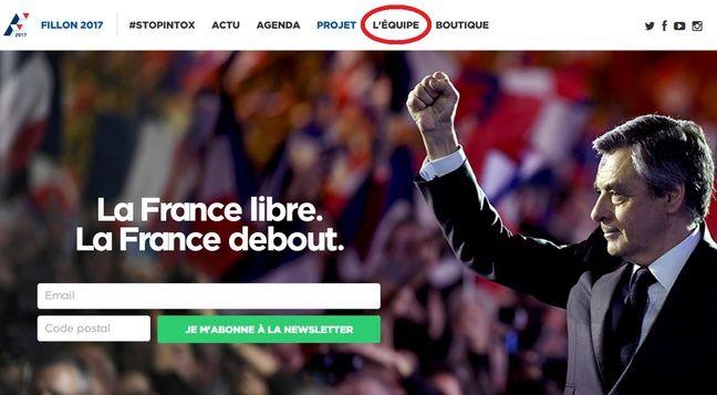 Capture d'écran du site de François Fillon, le 11 février 2017.