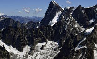 Le pic des Grandes Jorasses dans le Mont Blanc, dans les Alpes Françaises.