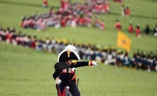 """""""L'attaque française"""", jouée par des milliers de passionnés ayant reconstitué sur place la bataille de Waterloo, le 19 juin 2015, dans le cadre des manifestations pour le 200e anniversaire de la dernière bataille de l'empereur Napoléon Bonaparte"""