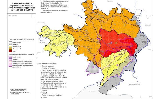 La carte de la sécheresse dans le Gard.