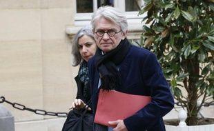 Le secrétaire général de Force ouvrière Jean-Claude Mailly à son arrivée à Matignon à Paris le 14 mars 2016