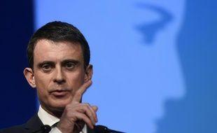 Le Premier ministre Manuel Valls lors d'un discours à Vaulx-en-Velin, près de Lyon le 13 avril 2016