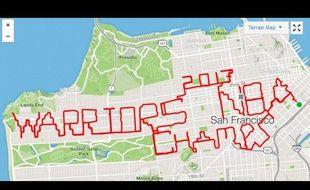 Un Anglais a parcouru 80 km pour rendre hommage à la victoire des Warriors en NBA sur son application de course, le 21 juin 2017.