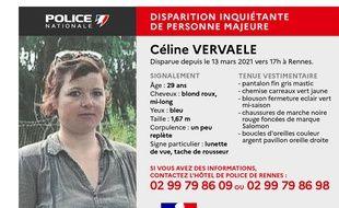 Le commissariat de police de Rennes a lancé un appel à témoins après la disparition inquiétante de Céline Vervaele le 13 mars 2021 dans le quartier de Cleunay.