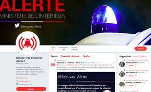 Capture d'écran du nouveau compte Twitter lancé jeudi 1er juin 2018 par le ministère de l'Intérieur.