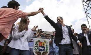 Le président autoproclamé du Venezuela Juan Guaido a été accueilli par des milliers de supporteurs pour son retour dans le pays, le 4 mars 2019.