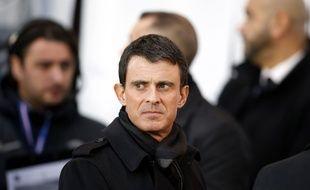Manuel Valls lors du match PSG-Troyes au Parc des Princes, le 28 novembre 2015.