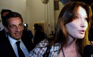 Nicolas Sarkozy et Carla Bruni-Sarkozy quitte le théâtre national Habima de Tel-Aviv (Israel) le 25 mai 2014