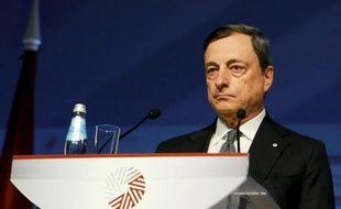 Le président de la Banque centrale européenne, Mario Draghi, lors d'une conférence de presse le 24 avril 2015 à Riga en Lettonie