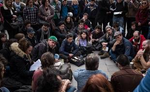 A Nuit Debout, place de la République, à Paris, le 12 avril 2016.
