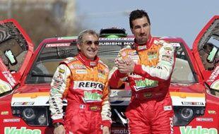 Luc Alphand (à droite) et son co-pilote Gilles Picard, lors du rallye d'Europe Centrale le 20 avril 2008.