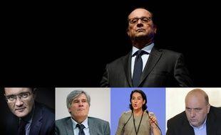 Montage. Hollande, Bachelay, Le Foll, Espagnac, Dray.  CHARLY TRIBALLEAU; JOEL SAGET/AFP et Simon Decleves ; ERIC CABANIS ; JULIEN DE FONTENAY/SIPA;