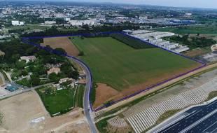 L'emplacement du futur stade photographié par un drone