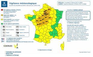 La carte vigilance de Météo France.