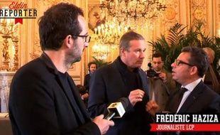 Capture d'écran d'un reportage de Canal +, qui a filmé un vif échange entre Frédéric Haziza et Nicolas Dupont-Aignan.